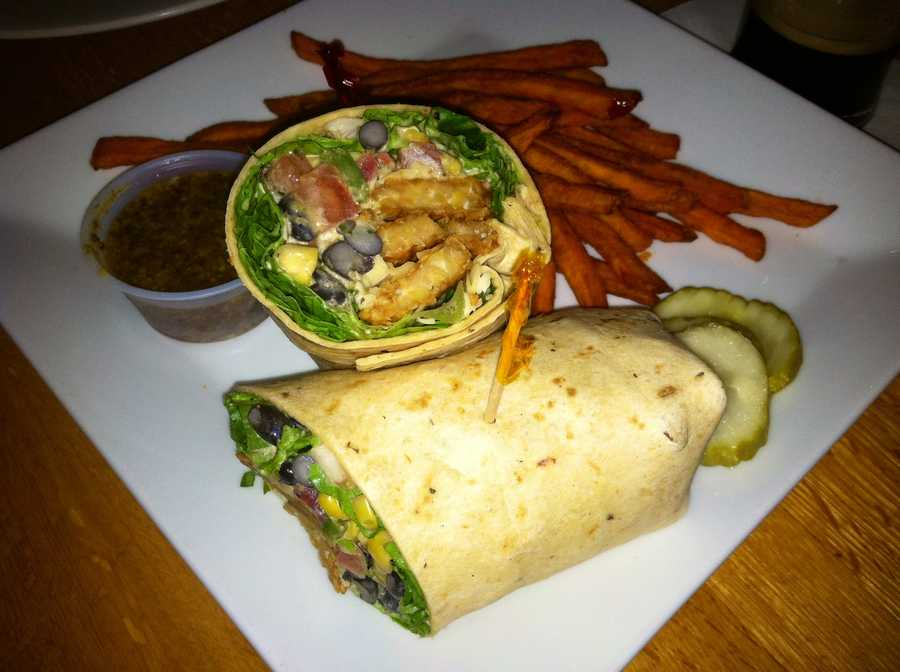 This is a fiesta tempeh wrap with sweet potato fries from Livingoods in Peru, NY. I'm obsessed with this wrap! - Courtney Kabot, anchor