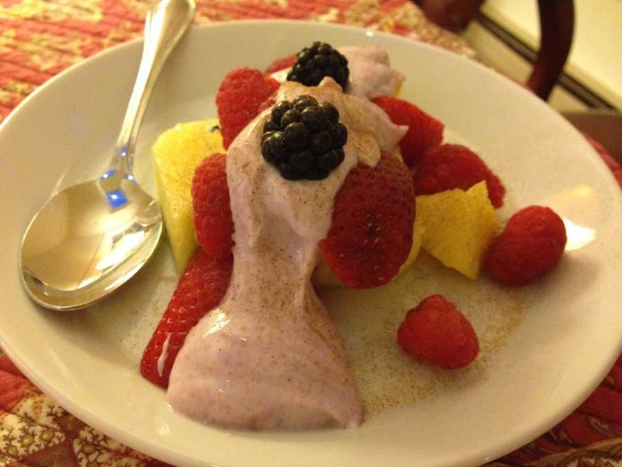 Fresh berries, pineapple and black raspberry yogurt makes for one delicious dessert in Winooski last Sunday. - Stewart Ledbetter, reporter