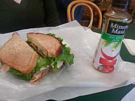 Maple turkey, Havarti cheese with dill, mayo, sprouts and lettuce on wheat bread from Martone's Deli in Essex, Vt. - Lisa Tallman, assignment manager