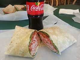 Cajun-style chicken with mayo, tomato, lettuce, and pepper jack cheese on a plain wrap from Martone's Deli in Essex, Vt. - Web Editor Jen