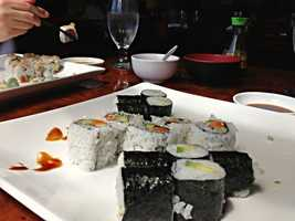 Veggie, cucumber, and avacado rolls from Asian Bistro in Winooski, Vt. - Web Editor Jen