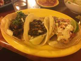 Taco plate from El Gato in Burlington. This is a mix of pork, fish and beef tongue (don't knock it until you try it!) - Vanessa Misciagna, reporter