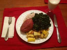 Lemon thyme chicken with sautéed kale and summer squash in coconut oil with a baked sweet potato and almond milk. - Alison Carey, reporter