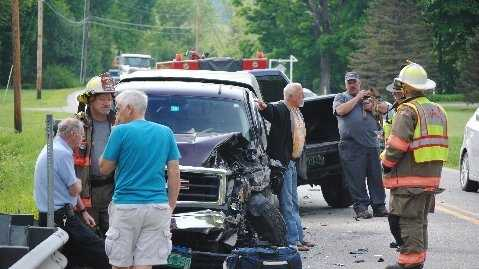Former Rutland senator William Carris, 69, was involved in a head-on collision in West Rutland Tuesday morning. Carris, seen wearing a black coat and white/organe shirt, wastaken to the state police barracks in Rutland and processed for driving under the influence. The other drive, Robert MacMurray, was taken to the hospital for treatment of minor injuries sustained in the crash. (Photos courtesy of Mike Chaloux)