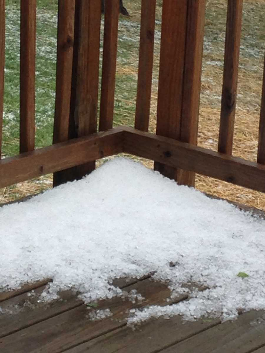 This is pile of hail balls I found on my deck this afternoon.