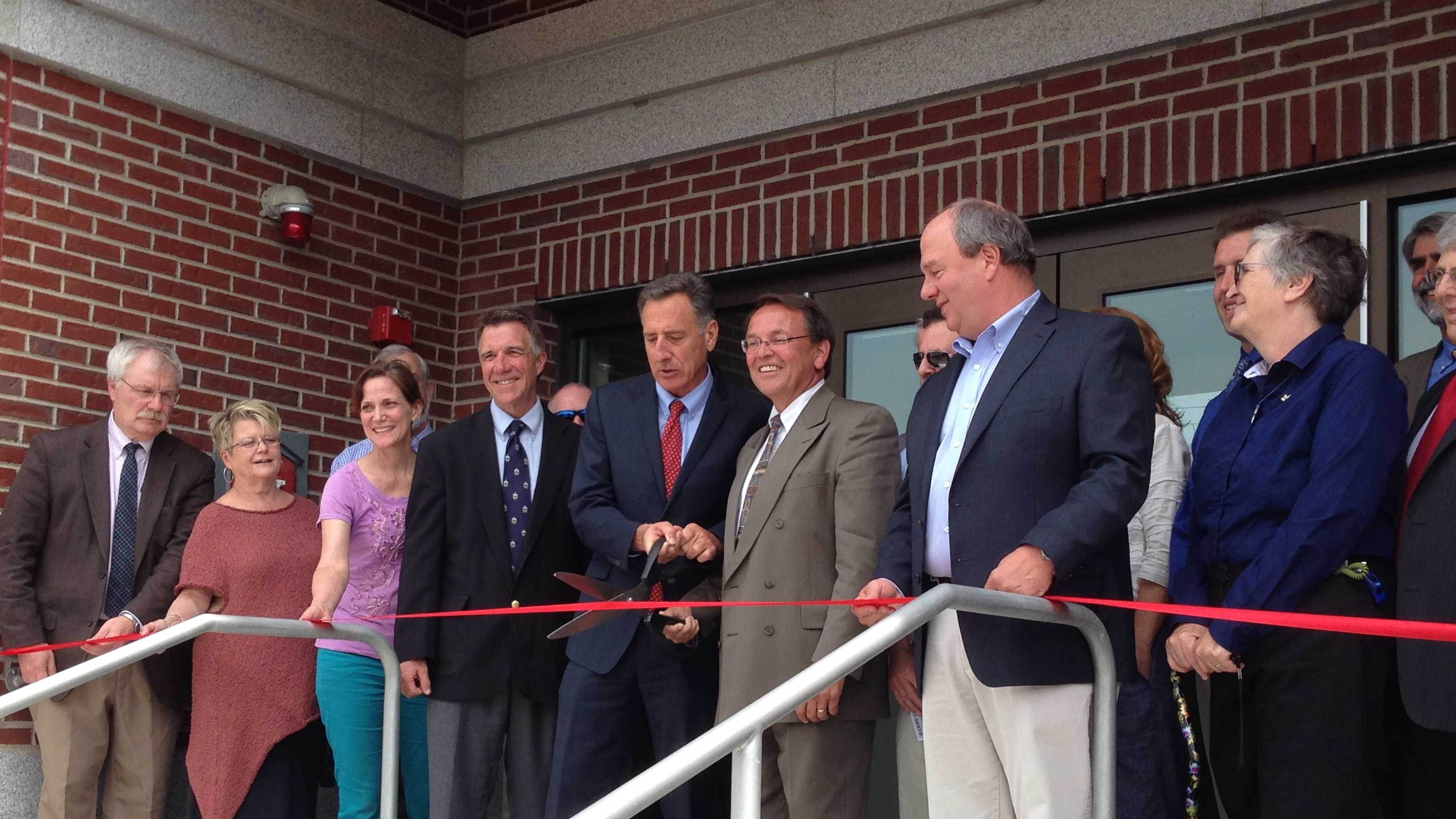Gov. Peter Shumlin and Mayor Thom Lauzon join local and state leaders for the grand opening of Barre City Place