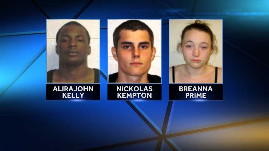 Alirajohn Kelly, 23, of Newark, N.J. and Breanna Prime, 19, of White River Junction, were arrested Tuesday in New Hampshire for allegedly dealing heroin.Nickolas Kempton, 18, of White River Junction, was arrested in New Hampshire for allegedly selling marijuana.