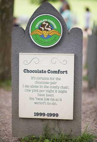 Chocolate Comfort1999-1999Chocolate Truffle Low Fat Ice Cream swirled with White Chocolate Low Fat Ice Cream.