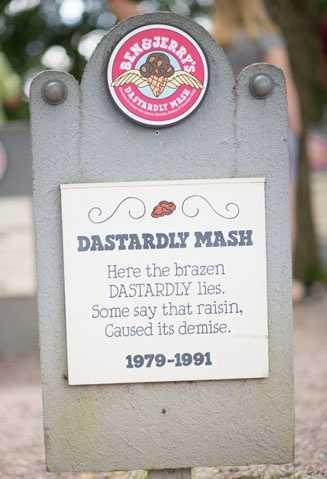 Dastardly Mash1979 – 1991Chocolate Ice Cream with Pecans, Almonds, Raisins, & Chocolate Chips.