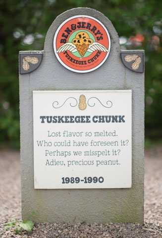 Tuskeegee Chunk1989 – 1990Peanut butter ice cream with chocolate chunks.