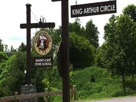 """Martha Stewart visits King Arthur Flour in Norwich, Vt. for a baking demo. King Arthur is one of the sponsors for Stewart's new cooking program on PBS, """"Martha Bakes."""""""