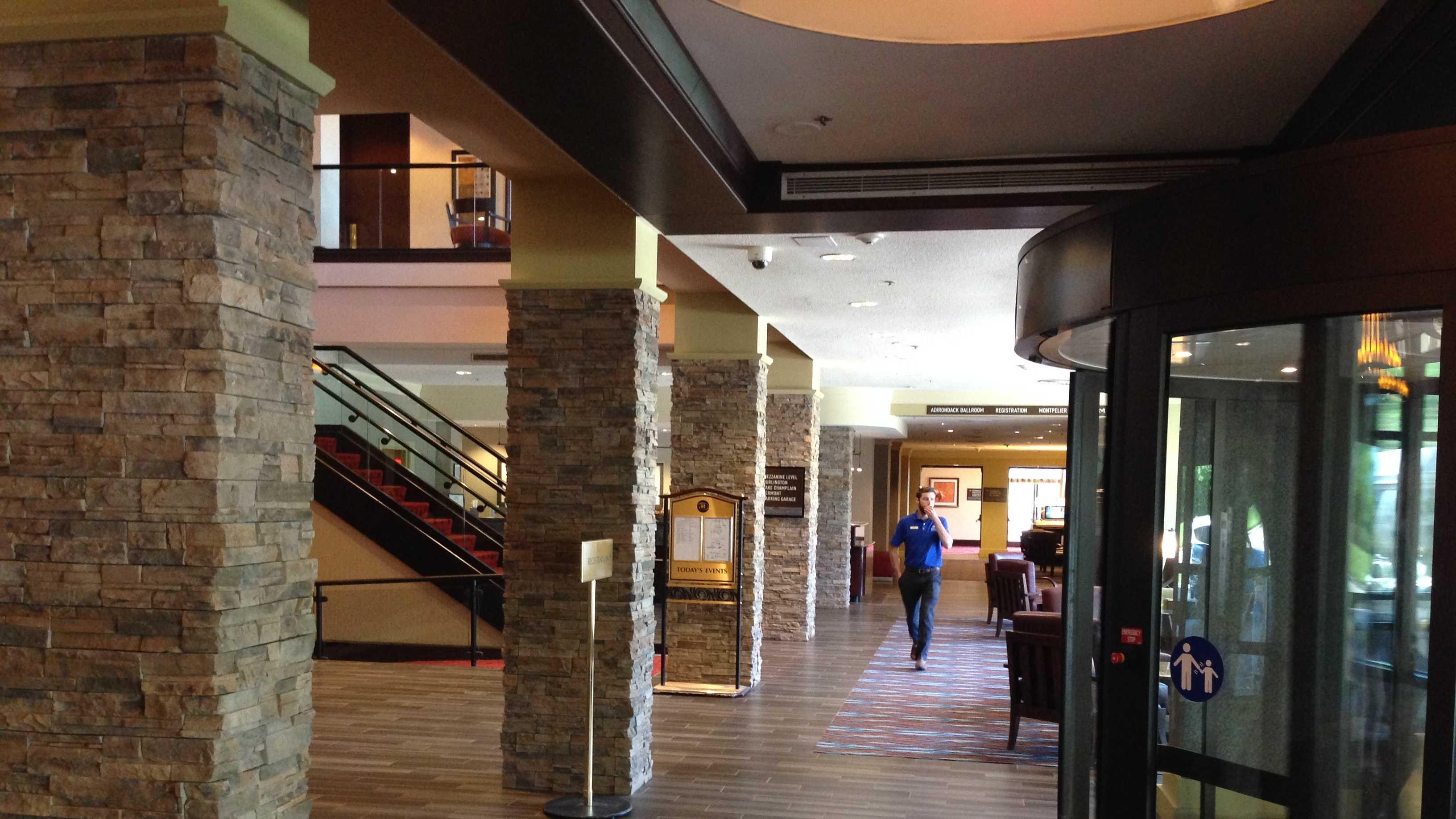 The new lobby redesign at the Hilton Burlington Hotel.