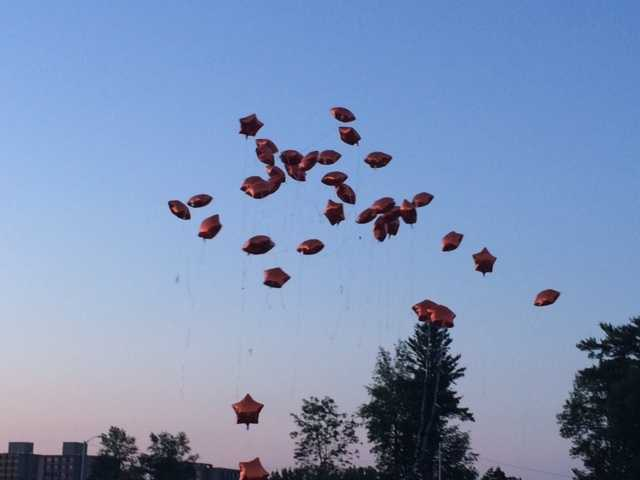 The balloons fly high