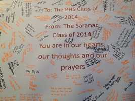 A message board from the Saranac, NY class of 2014