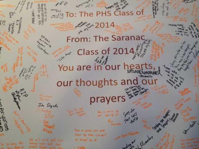 A message board from the Saranac, NY class of 2014