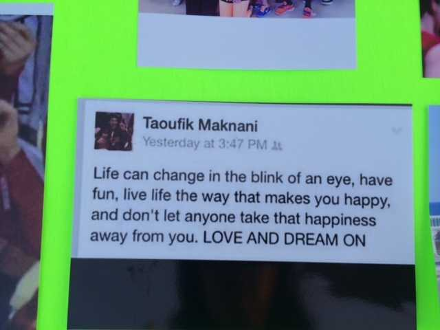 An inspiring statement on a board about Taoufik