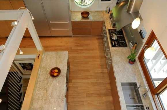 You can look down into the kitchen.