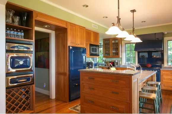 "Incredible kitchen boasts ""retro-blue"" appliances."