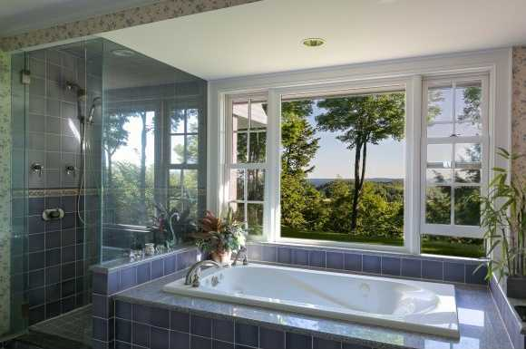 Master bathroom, of course, isn't lacking in the view department either.