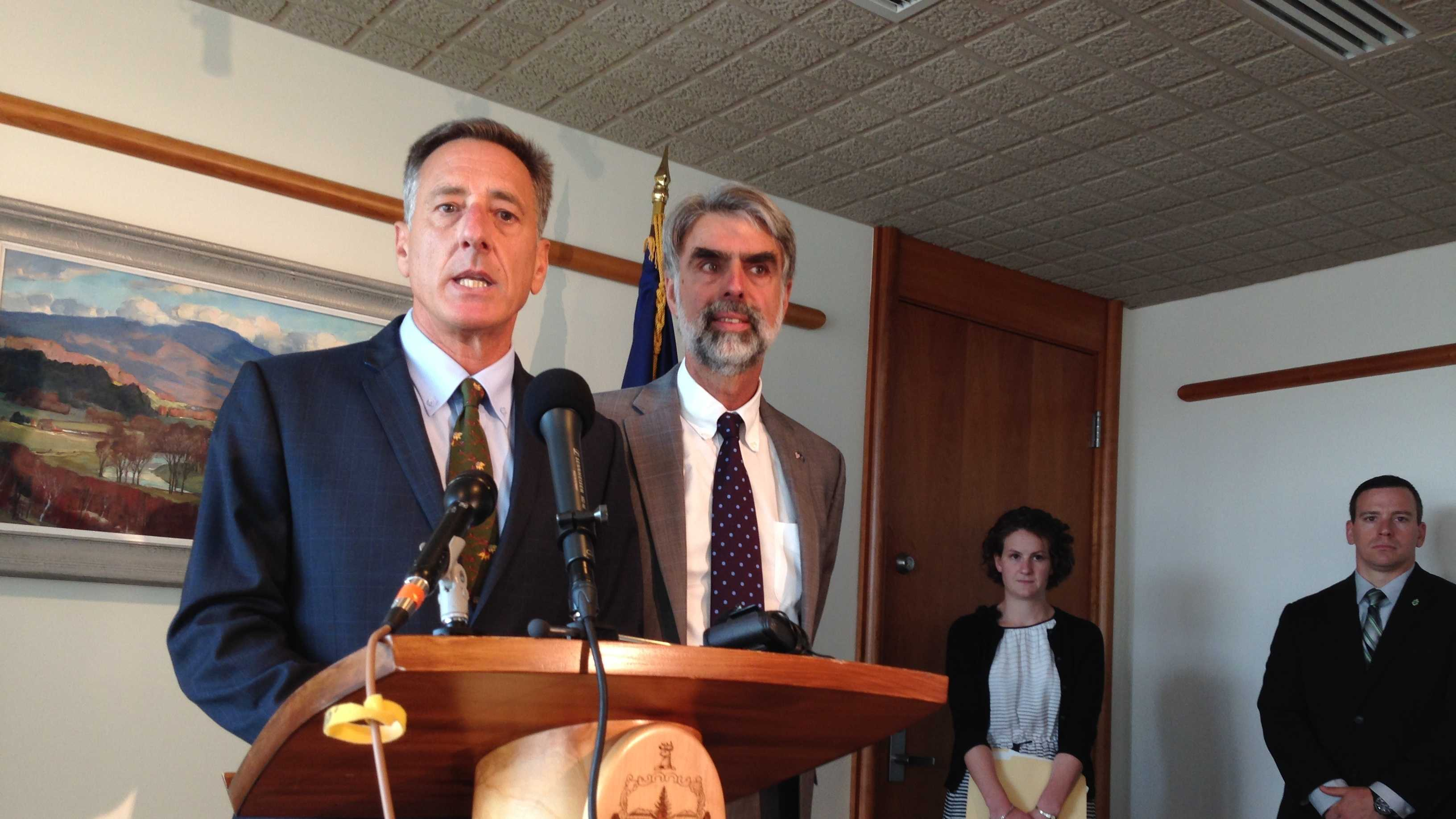 Gov. Peter Shumlin, and Administration Sec'y Jeb Spaulding brief reporters Thursday morning on the revenue downgrade.