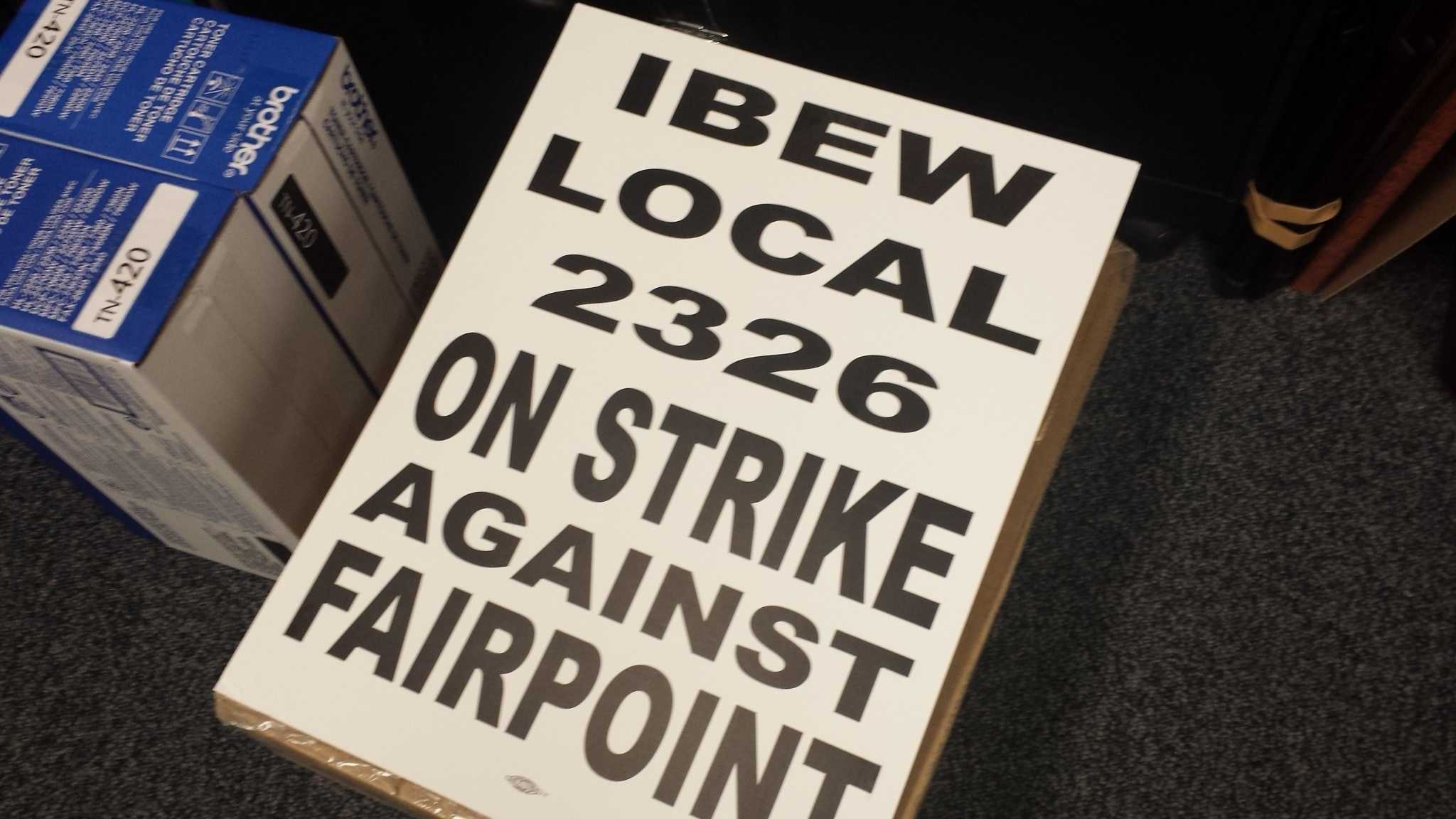Placards are already printed for FairPoint union members to wear on picket lines should negotiations fail on a new contract.