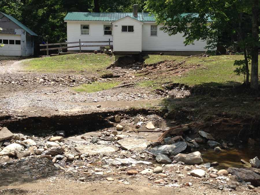 A Chester, Vt. home's yard was destroyed by flooding Monday night.