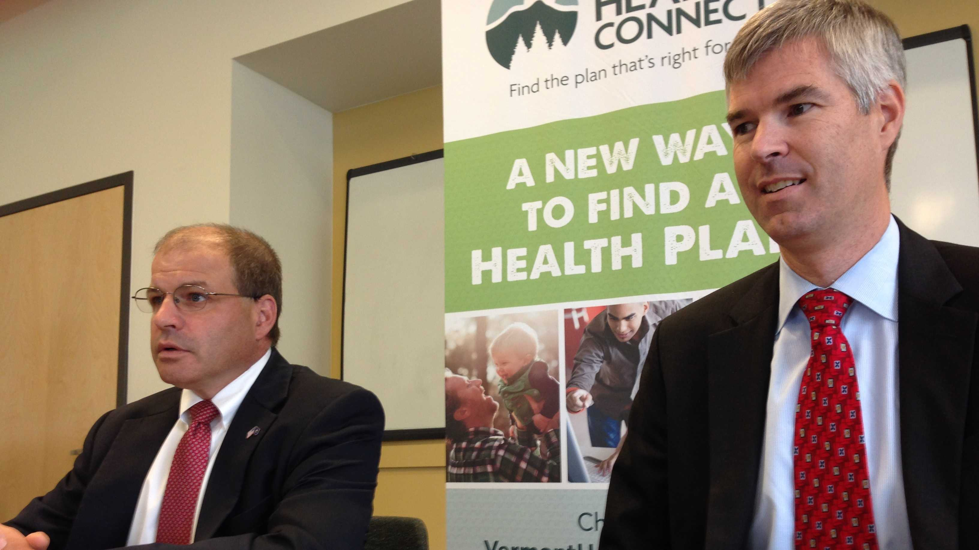 Vermont's Chief of Health Care Reform Lawrence Miller and Mark Larson announce the state has hired a new developer to take over the Vermont Health Connect website.