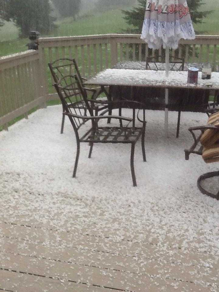 Patio furniture covered in hail in Derby, Vt.