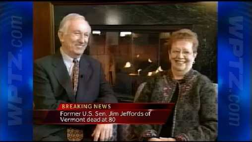 Former U.S. Vermont Senator Jim Jeffords has died at age 80. He's seen here with his wife Liz, who passed away in 2007 from cancer.