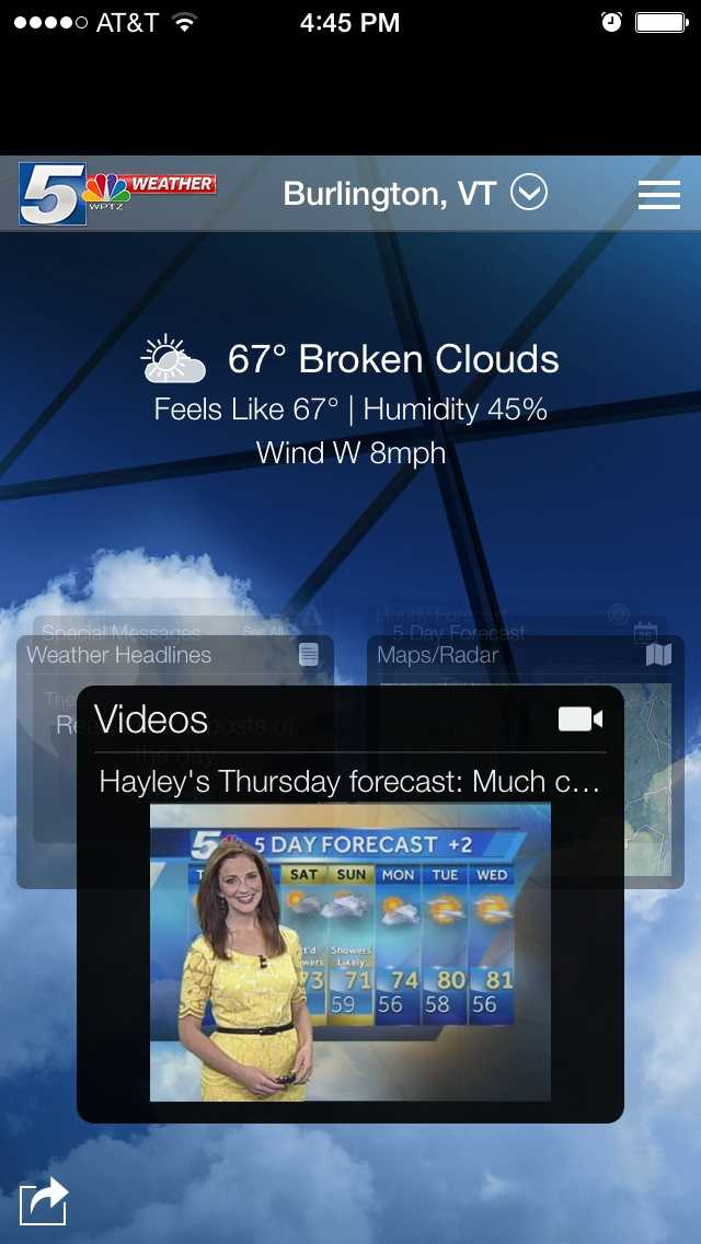 The NewsChannel 5's First Alert Weather App features an easy-to-use carousel design. With a simple swipe, you can quickly flip through the different widgets on the app. Open the widget you want to access with a tap and return home by tapping the weather logo in the upper left.