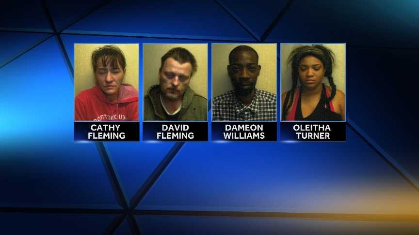 Dameon Williams, Cathy Fleming, David Fleming and Oleitha Turner were arrested by Bristol, Vt. police on charges relating to the sale and distribution of heroin.