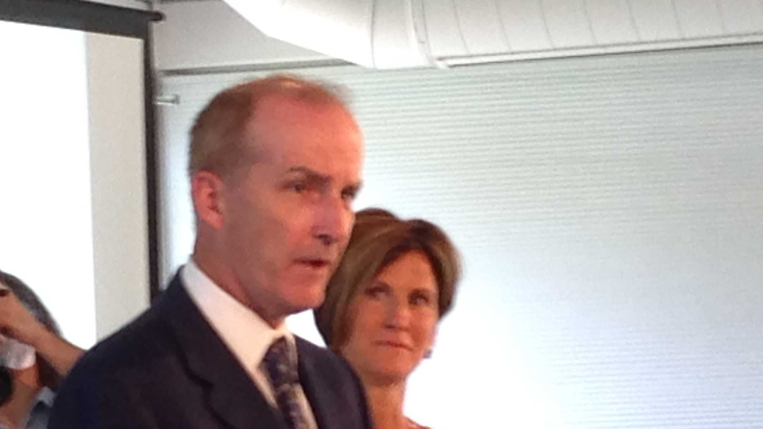 NRG Energy CEO David Crane and GMP CEO Mary Powell speak at a news conference Tuesday in Essex.