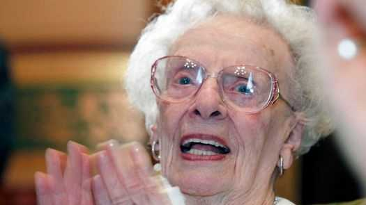 Lola Aiken, in a file photo taken on June 25, 2012 at the Vermont Statehouse on the occasion of her 100th birthday.