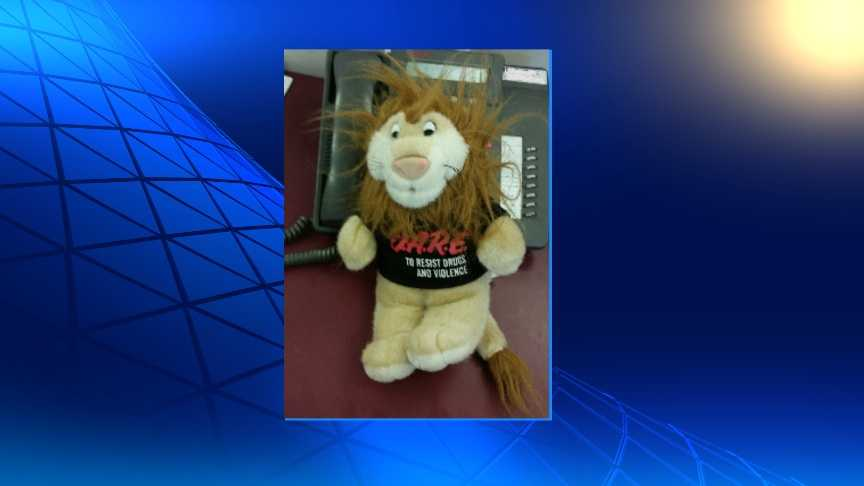 New York State Police say they found pot, LSD and cocaine stuffed inside this D.A.R.E lion. Gregory Bolognese, of Plattsburgh, was arrested for possession following the discovery of the drugs.