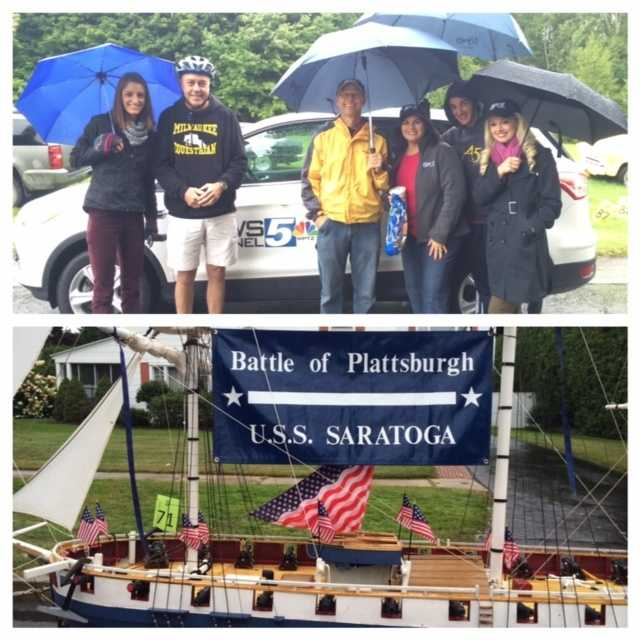WPTZ Team in the parade.  Above the U.S.S. Saratoga.