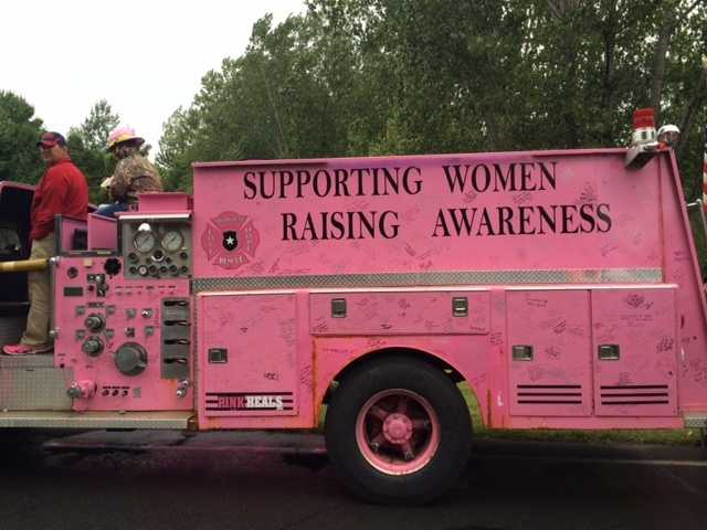 Beekmantown Fire Truck.  Painted pink for victims of breast cancer.  Women who have had breast cancer signed the truck.  What a kind tribute.