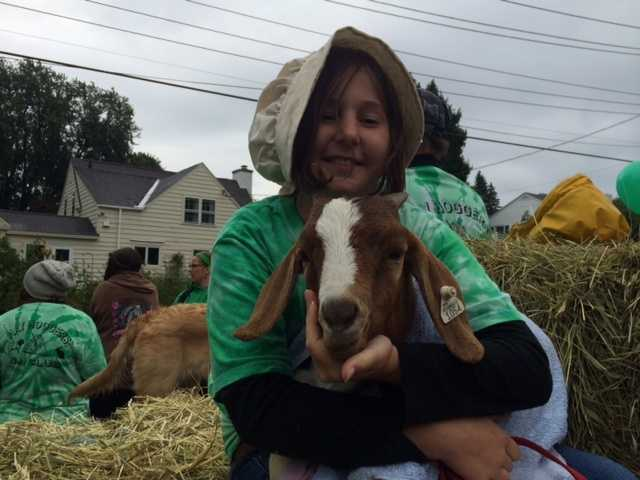 Dressed in costume, a little girl enjoys time with her goat.