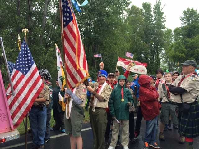 Boy Scout Troop showing its pride.