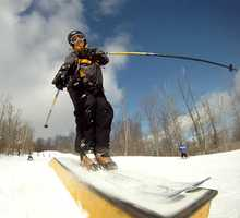 So it probably comes as no surprise that my favorite sport is skiing. I've been at it since I was 2 years old. I haven't gone a winter without skiing since! In this picture I'm trying out the terrain park at Bristol Mountain.