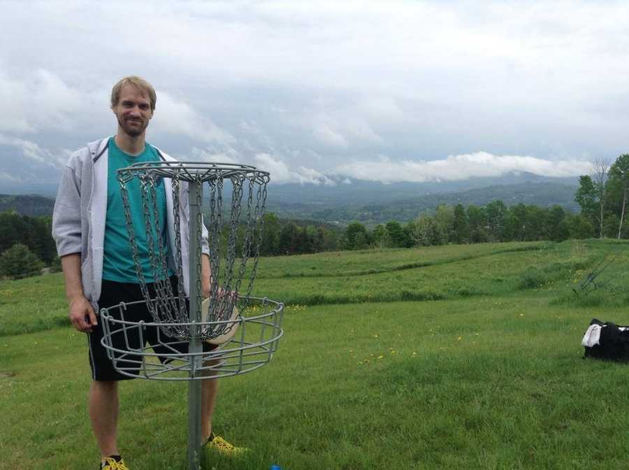 I can also thank my time at Lyndon for introducing me to the sport of Disc Golf. Here's a friend of mine on hole 17 of the course at Lyndon State.