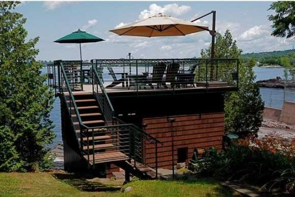 Boathouse with rooftop deck.