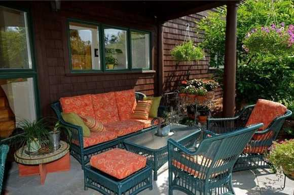 Shaded porch area is perfect for a morning coffee.