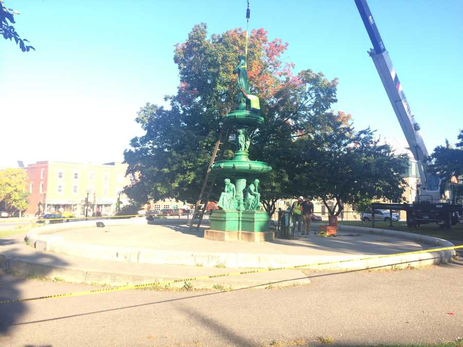 St. Albans' favorite group of green ladies  is making a dramatic exit. The 127-year old fountain in Taylor Park was dismantled Tuesday and taken away to be restored.
