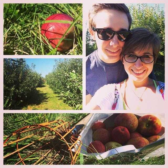 I love exploring Vermont! Here's me and my special someone during our recent apple picking trip! I made my first apple pie with the apples we picked!