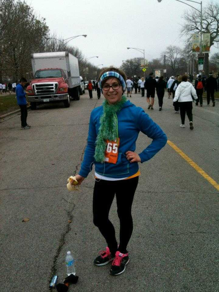I love to run and be active. I once ran the Chicago Half Marathon and the Bay to Breakers 12K in San Francisco in the same week! Here I am after the Chicago Turkey Trot!
