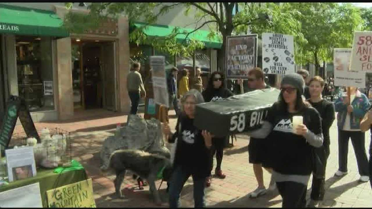 A Vermont group hosts a walk in Burlington to mourn the loss of billions of farm animals to food production.