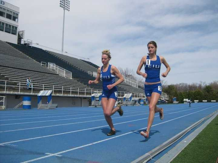 Track, a close second behind cross country, for my favorite sport. This is my and my teammate, Britney, running the steeple chase. I also ran the 3k, and 5k. That blue track is one of my favorite places in the world.