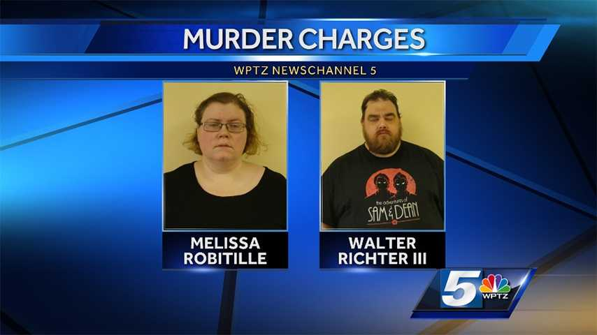 Melissa Robitille and Walter Richter III, both 38 and of Hardwick, Vt., were arrested Oct. 7, 2014 and charged with second-degree murder in the August death her son, 13-year-old Isaac Robitille, They will be arraigned Oct. 8, 2014 in Caledonia Superior Court. Vermont State Police say the pair administered alcohol to Isaac through his IV, which contributed to his death. Police add Isaac was born with significant medical conditions and handicaps that required feeding tubes, IVs and caretakers.