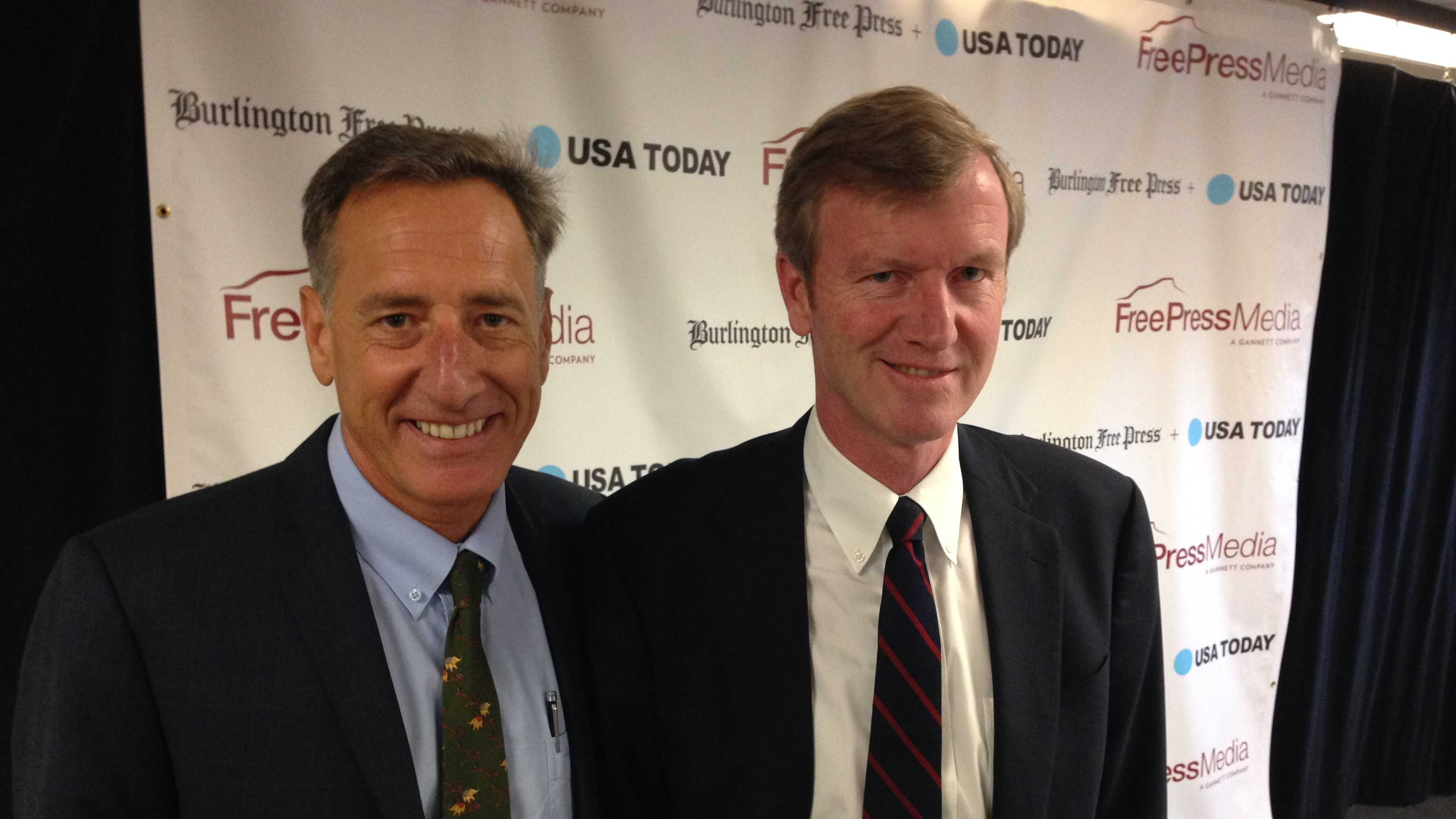 Gov. Peter Shumlin and GOP challenger Scott Milne are all smiles before the start of the Burlington Free Press debate.