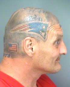 A New Hampshire man with a distinctive Patriots helmet tattoo was arrested in Florida last month for possession of Spice. Click through to view the mugshots, furnished by The Smoking Gun.